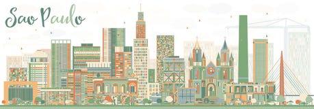 Sao abstrait Paulo Skyline avec des bâtiments de couleur Photographie stock libre de droits