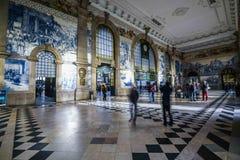 Sao Bento estacion Porto. Inside view of the railway station and tiles of Sao Bento in Porto royalty free stock photo