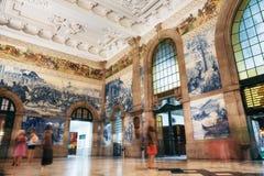 Sao Bento Railway Station i Porto, Portugal royaltyfri foto