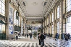 Sao bento railway station landmark interior in porto portugal Royalty Free Stock Images
