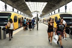 Sao Bento railway station in Porto, Portugal. PORTO, PORTUGAL - AUGUST 27, 2018: Some trains stopped at the platforms of the historical Sao Bento railway station royalty free stock photo