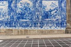 Sao bento station`s azulejos wall in Porto royalty free stock image