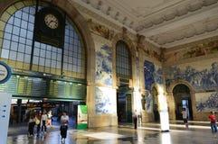 Sao Bento train station. Azulejos of the hall of Sao Bento railway station Porto, Portugal stock photo