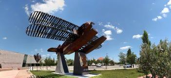Replica seaplane monument. SAO BRAS DE ALPORTEL, PORTUGAL: 30th april, 2017 - First aerial crossing of the South Atlantic made by Gago Coutinho and Sacadura Royalty Free Stock Photo