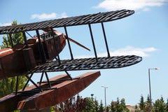 Replica seaplane monument. SAO BRAS DE ALPORTEL, PORTUGAL: 30th april, 2017 - First aerial crossing of the South Atlantic made by Gago Coutinho and Sacadura Stock Images