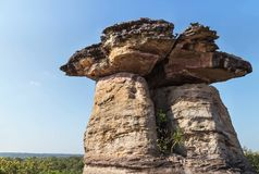 Sao chaliang giant mushroom stone pillar in ubonratchathani ,thailand. On blue sky background Stock Photography