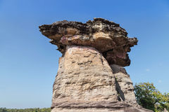 Sao chaliang giant mushroom stone pillar in ubonratchathani ,thailand. On blue sky background Stock Image