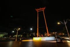 Sao Ching Cha(Giant swing) in Bangkok at night Royalty Free Stock Images