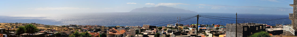 Sao Filipe Panoramic. Full view of the city of Sao Filipe, Fogo, Cabo Verde highlighting the ongoing expansion and growth of this 3rd world island Stock Photo
