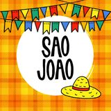 Sao Joao or Festa junina, Brazilian june party greeting card, invitation. Garland of hand drawn flags and straw hat. Vector illustration background, colorful Royalty Free Stock Photos