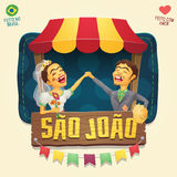 Sao Joao Saint John Brazilian June Party hick couple in front. Multiple layers - Creative high quality vector cartoon for june party themes - Made in Brazil Stock Photography