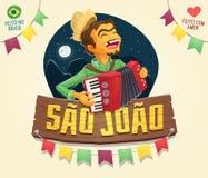 Sao Joao Saint John sign with happy hillbilly playing the acco Royalty Free Stock Photo