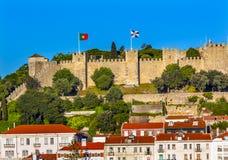 Sao Jorge Belevedere Miradoura Outlook Lisbon Portugal do castelo fotos de stock