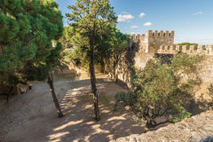 Sao Jorge Castle inside view. The castle  is located at the hist Royalty Free Stock Photography