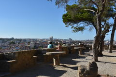 Sao Jorge Castle in Lissabon Stockfotos