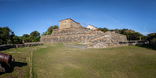 Sao Jose da Ponta Grossa Fortress - Florianopolis, Santa Catarina, Brasilien Royaltyfria Bilder