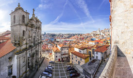 Sao Lourenco Church aka Grilos Church with a skyline view of the city. Porto, Portugal. December 29, 2014: Sao Lourenco Church aka Grilos Church with a skyline stock photo
