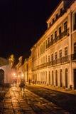 Sao Luis gör Maranhao historiska byggnader på natten Arkivfoton