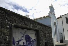 SAO MIGUEL, AÇORES, PORTUGAL, EUROPE, SPRING. Moinho do Pico Vermelho and hermitage of the Chapel of Santo Antonio