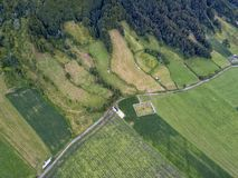 Sao Miguel Aerial. Aerial view of farmland in Sete Cidades in Sao Miguel, Azores royalty free stock photography
