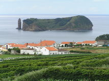 Sao Miguel, Azores. Landscape of Sao Miguel, Azores islands, Portugal. The village is Vila Franca stock image