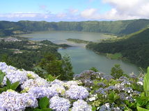 Sao Miguel, Azores. Landscape of Sao Miguel, Azores islands, Portugal. In the picture, Lagoas da Sete Cidades in a volcanic crater royalty free stock photos