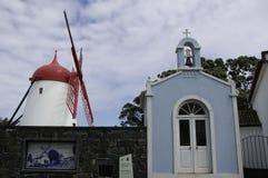 SAO MIGUEL, AZORES, PORTUGAL, EUROPE, SPRING. Moinho do Pico Vermelho and hermitage of the Chapel of Santo Antonio