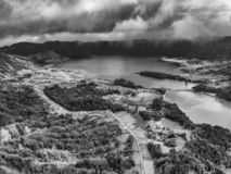 Sao Miguel Black and White Aerial. Beautiful Black and White aerial view of Sete Cidades with Lagoa Verde and Azul in Sao Miguel, Azores stock images