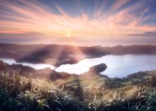 Sao Miguel Island and lake Ponta Delgada, Azores. Mountain landscape with hiking trail and view of beautiful lakes Ponta Delgada, Sao Miguel Island, Azores Stock Photos