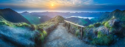Sao Miguel Island and lake Ponta Delgada, Azores. Mountain landscape with hiking trail and view of beautiful lakes Ponta Delgada, Sao Miguel Island, Azores Royalty Free Stock Images