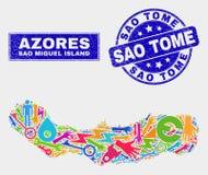 Sao Miguel Island Map del servicio del mosaico y sello del sello de Sao Tome de la desolación libre illustration