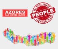 Sao Miguel Island Map Population Demographics e selo sujo ilustração do vetor