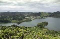 SAO MIGUEL, SETE CIDADES, AZORES, PORTUGAL, EUROPE, SPRING. Canal Das 7 Cidades Azores. Seven cities lake in Sao Miguel. Crater of