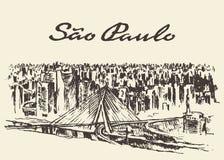Sao Paolo skyline vector illustration drawn sketch Stock Photography