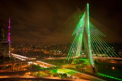 Sao Paul city bridge at night Royalty Free Stock Photos