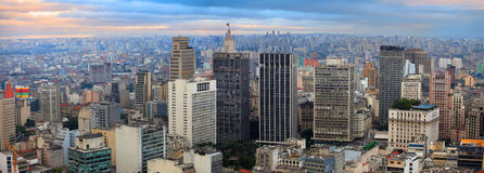 Sao Paulo. Panoramic view of downtown Sao Paulo in twilight time Stock Photos