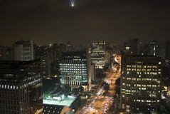 Sao Paulo. Brazil. Top view by night royalty free stock photo