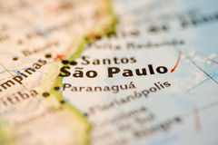 Sao Paulo. City shown on a map close-up Stock Photos