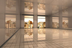 Sao Paulo Apartment. Interior visualisation of an empty Apartment in Sao Paulo. 3D rendered illustration Stock Photo
