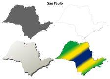 Sao Paulo blank outline map set. Sao Paulo blank detailed vector outline map set Stock Image