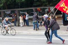 Sao Paulo, Brésil - avril, 28 2017 Grève nationale au Brésil Images libres de droits