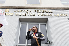Sao Paulo, Brasil - abril, 28 2017 Greve de âmbito nacional em Brasil Imagens de Stock Royalty Free