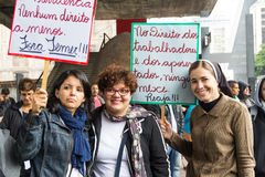 Sao Paulo, Brasil - abril, 28 2017 Greve de âmbito nacional em Brasil Foto de Stock Royalty Free