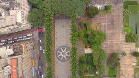 SAO PAULO, BRASIL - 3 DE MAIO DE 2018: Ideia aérea do quadrado de Ground Zero do centro de cidade Lugar turístico filme