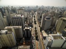 Sao Paulo, Brasile, agosto 2017 Vista aerea sul viale di Paulista, Fotografia Stock