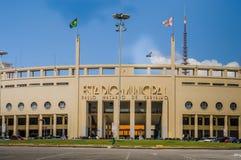 SAO PAULO BRASILIEN - APRIL 2012: Pacaembu kommunal stadion Royaltyfri Fotografi