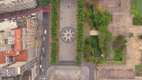 SAO PAULO, BRASILIEN - 3. MAI 2018: Vogelperspektive des Stadtzentrum Ground Zero-Quadrats Touristischer Platz stock footage