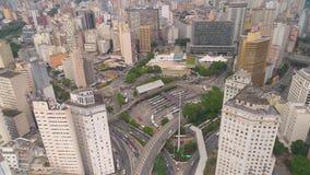 SAO PAULO BRASILIEN - MAJ 3, 2018: Flyg- sikt av fyrkanten för post för stadsmitt arkivfilmer