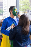 Sao Paulo, Brazil - April, 28 2017. Nationwide strike in Brazil. Royalty Free Stock Photography