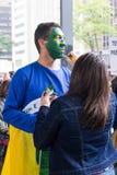 Sao Paulo, Brazil - April, 28 2017. Nationwide strike in Brazil. Royalty Free Stock Photography
